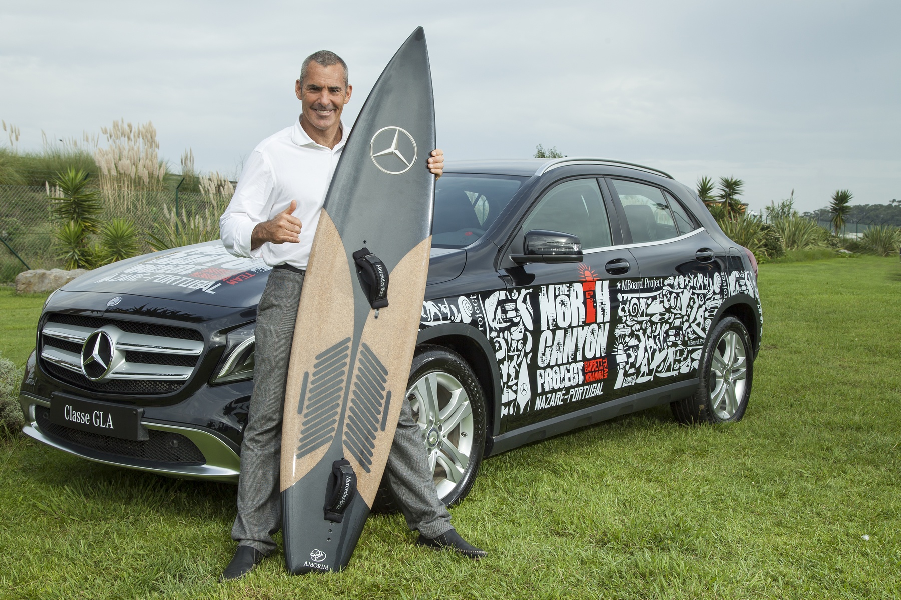 McNamara with cork surf board